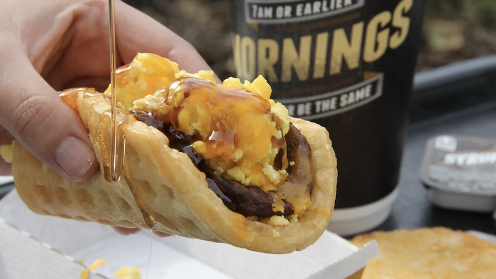 syrup on taco bell Waffle Taco