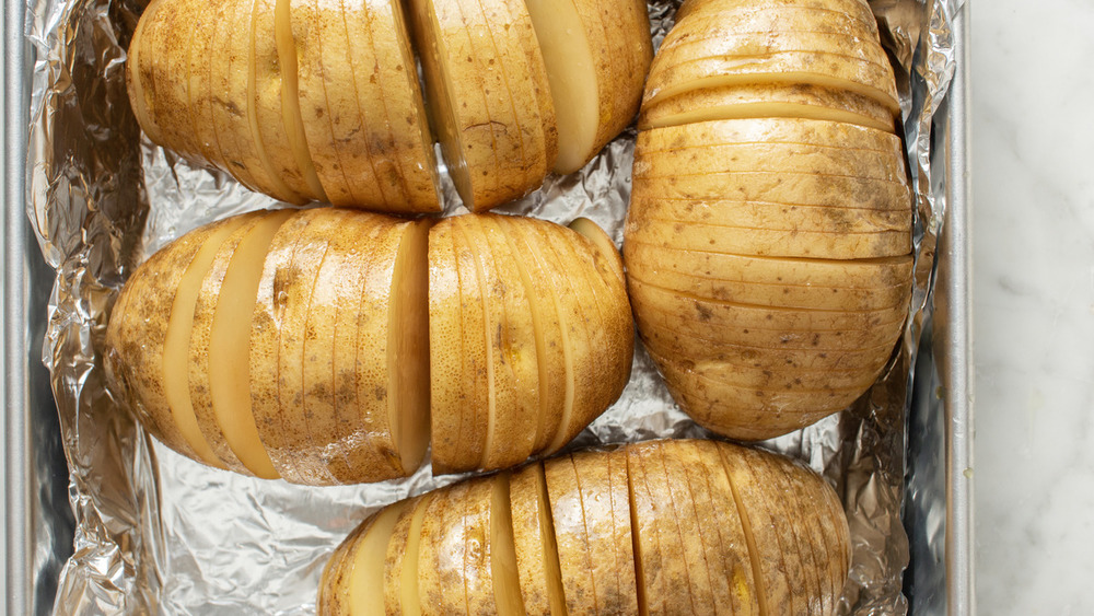 hasselback potatoes in a pan