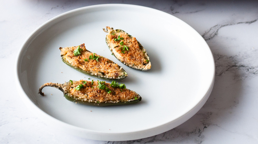 plated jalapeño poppers on white plate