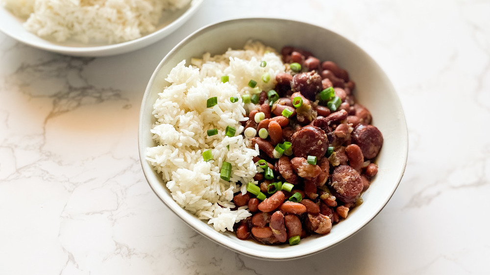 Rice and beans in white bowl