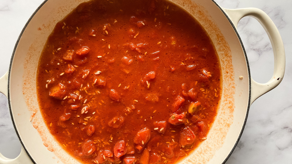 simmering rice for Mexican rice recipe