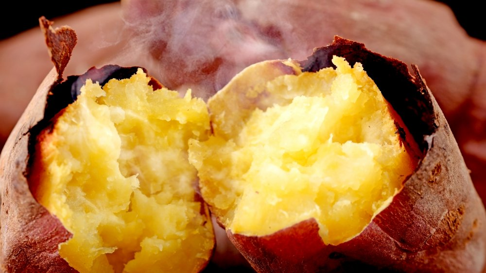 Roasted sweet potato with skin