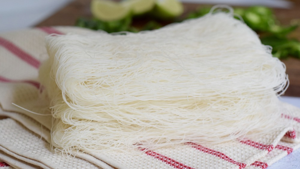 rice noodles for pho on towel