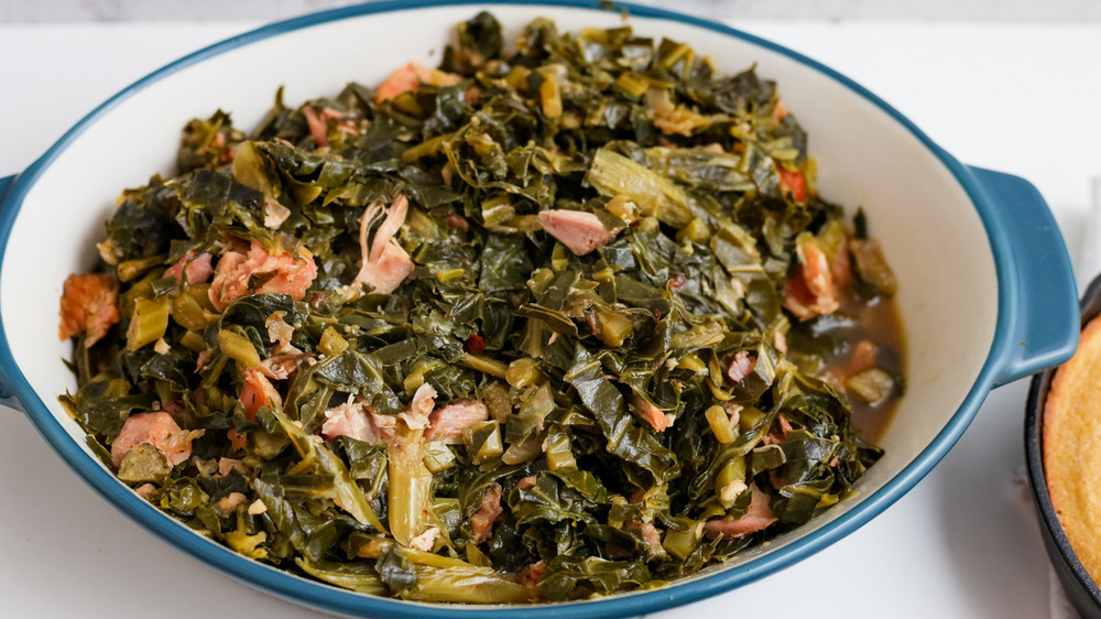 collard greens being served