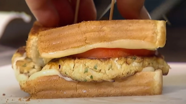 Guy Fieri eats Crab Cake Grilled Cheese