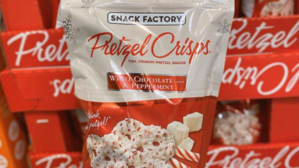The ridiculously popular white chocolate peppermint pretzels you can get at Costco