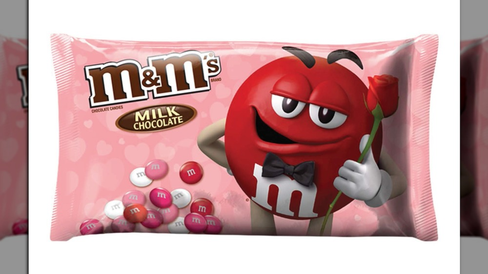 Pink bag of Valentine's Day M&Ms