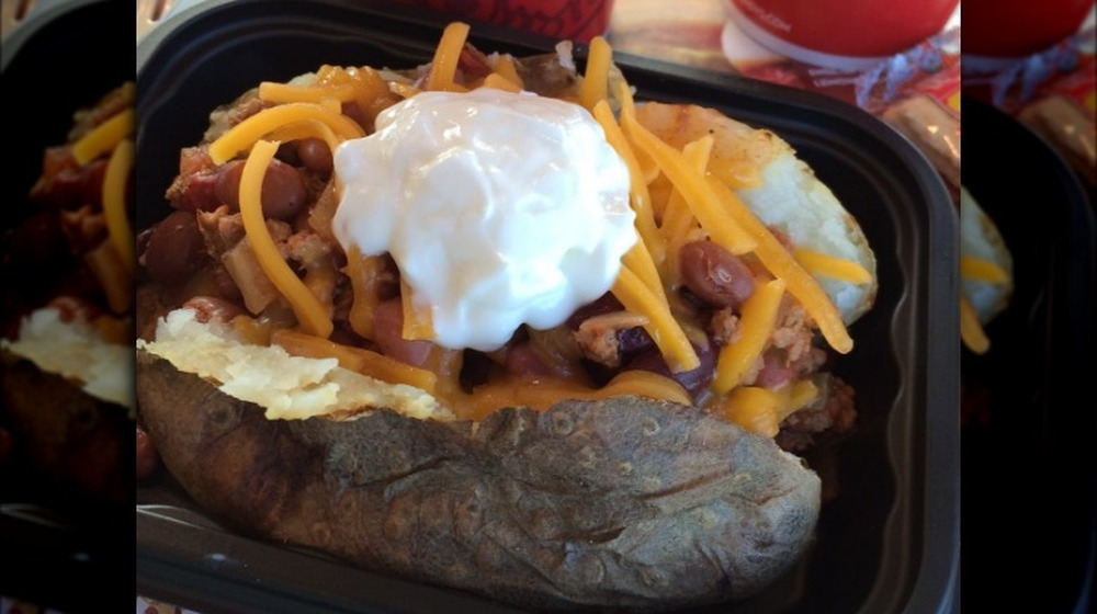 Wendy's baked potato with cheese and sour cream